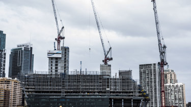 The number of construction cranes across the country has declined.