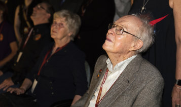 Eugene Parker a pioneer in heliophysics, watches the launch of the Delta IV rocket, carrying the Parker Solar Probe, which is named after him.