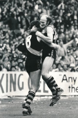 Tigers Kevin Bartlett and Michael Roach celebrate.
