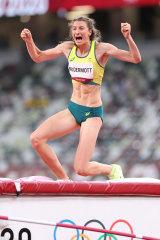 Australian high jumper Nicola McDermott celebrates winning silver.