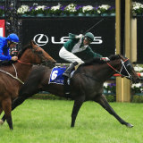 Exceedance draws away from Bivouac on the line in the Coolmore Stud Stakes.
