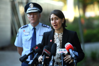 NSW Premier Gladys Berejiklian, right, and NSW Police Commissioner Mick Fuller.