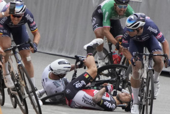 Peter Sagan, centre left, and Caleb Ewan, centre right, collided during the sprint towards the finish line.