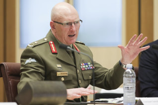 Lieutenant-General John Frewen, Commander Defence COVID-19 Task Force, testifies to the Senate.