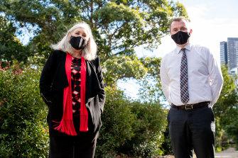 Principal Gail Clough and teacher Luke Fulwood at Macarthur Girls High
