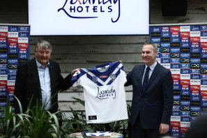 Arthur Laundy and Andrew Hill, CEO of the Canterbury-Bankstown Bulldogs, at the announcement of the Laundy Hotels sponsorship deal last July.