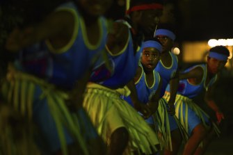 Traditional dancers perform at the Mabo Day event at the Tamwoy community hall on Thursday Island.