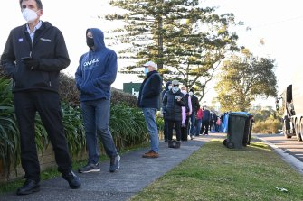 Long lines at Frenchs Forest on Thursday after more COVID-19 locations were identified in Belrose.