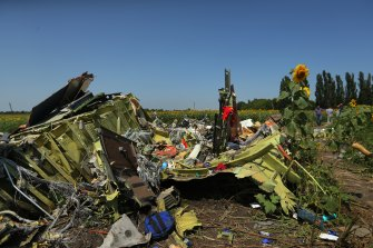 Debris from Malaysian Airlines flight MH17 on the outskirts of Rassypnoe village in 2014.