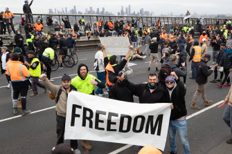 """""""Freedom"""" protesters marched across Melbourne CBD, including the Westgate Bridge."""