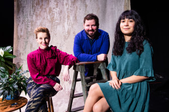 Kip Williams (centre), the artistic director of Sydney Theatre Company and playwright Kate Mulvany (left) who is adapting Ruth Park's Playing Beatie Bow and Jessica Arthur (green dress) director, Home, I'm Darling.