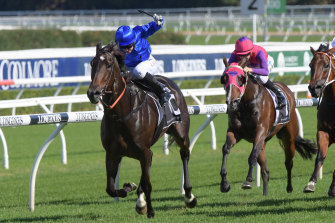 Laburnum, who returns at Rosehill on Saturday, wins the James Carr Stakes last year.