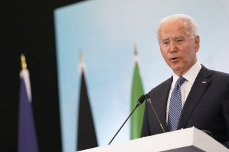 President Joe Biden speaks during a news conference after attending the G7 summit in Cornwall, England.