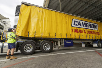 Phil Carey carries out checks on a Cameron truck.