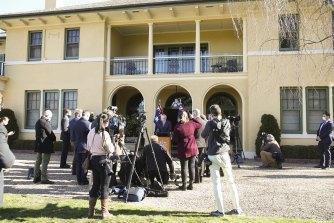 Prime Minister Scott Morrison holding a media conference outside The Lodge in Canberra, where he is currently hosting Treasurer Josh Frydenberg.