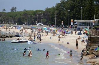 People take to Ramsgate Beach to cool down.