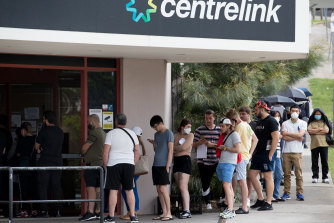 Australians queued outside Centrelink offices in March as the crisis took hold.