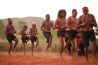Performances during a community event to celebrate to closure of the Uluru climb.