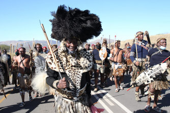 Supporters of former president Jacob Zuma descend on his home in Nkandla, KwaZulu-Natal Province, South Africa.