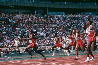 Canadian sprinter Ben Johnson (left) wins the 100m final at the Seoul Olympics on September 24, 1988. He was later disqualified.