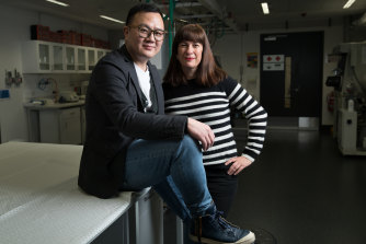 Alan Yu, a co-founder of the Providence Group that is investing in the new storage devices, and Amy Kean, a board member at UNSW's Hydrogen Energy Research Centre.