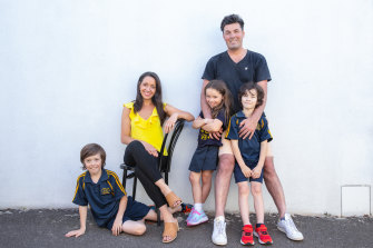 Leila Sawenko, Tony Maguire and their children Bodhi ,9, Marley, 6, and Leeny, 7.