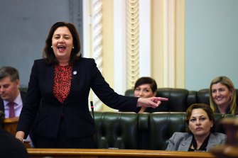 Queensland Premier Annastacia Palaszczuk (left) and her Deputy Premier Jackie Trad (right) during question time on Tuesday
