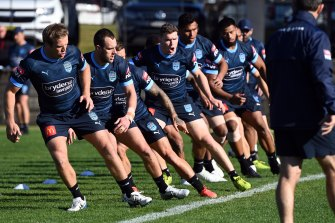 Isaah Yeo, second from left, and Liam Martin, fourth from left, at Blues training this week.