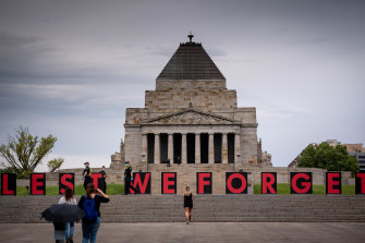 The Shrine of Remembrance was closed to the public on Wednesday because of COVID-19 restrictions.