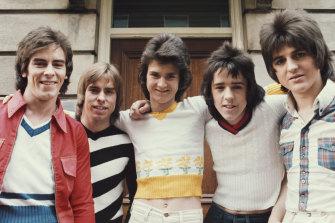 The Bay City Rollers in 1974: Left to right:  Alan Longmuir, Derek Longmuir, Les Mckeown, Stuart 'Woody' Wood, Eric Faulkner.