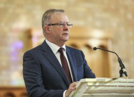 Opposition Leader Anthony Albanese speaks at the 2021 Ecumenical Service for the Commencement of Parliament held at St Christopher's Catholic Cathedral in Canberra on Monday.