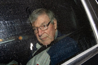 Cardinal George Pell arriving at the Seminary of the Good Shepherd in Sydney after being freed.
