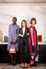 Myer's international fashion buyer, Anna Sergiou, with models wearing Marni, one of eight new international brands picked up by the department store.