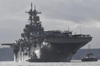 USS Wasp entering Sydney Harbour .