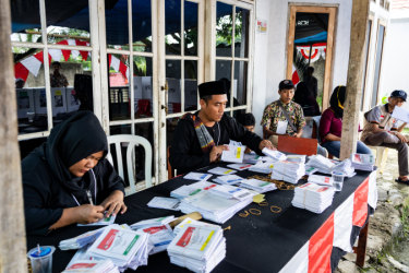 Election workers in West Java.