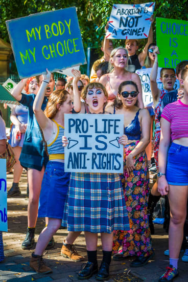 Pro-choice protesters gatecrashed an anti-abortion rally in Brisbane in February.