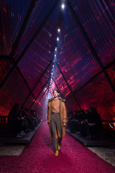 A model wears a creation for Hermes's show at Paris Fashion Week.