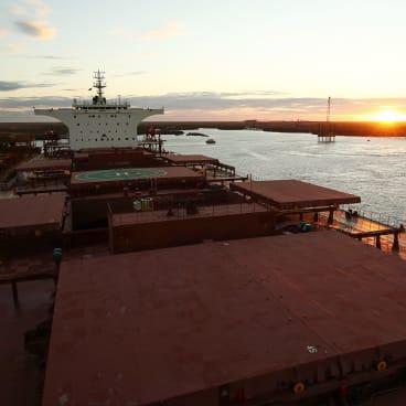 A bulk carrier sits moored at  Port Hedland.