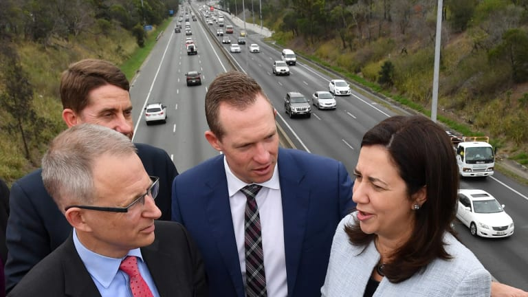 Federal Minister for Urban Infrastructure Paul Fletcher (left) , Queensland Public Works Minister Mick de Brenni (middle), and Queensland Premier Annastacia Palaszczuk (right) announcing that the contract for the M1 and M3 upgrade between Eight Mile Plains and Rochedale South has been awarded.