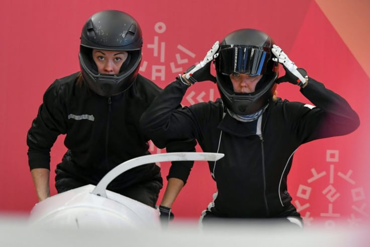 Slip up: The two-woman OAR bobsleigh crew finished 12th in the women's bobsleigh competition on 21 February 2018.