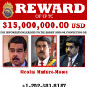 US Department of Justice shows a reward poster for Nicolas Maduro that was released on Thursday.,