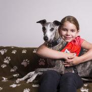 Iris Hallinan 8 with Dashi the story dog.