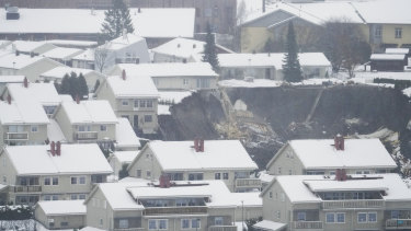 The scene after a landslide occurred in a residential area near Oslo.