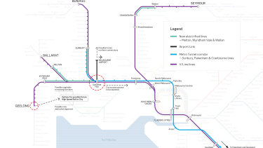 A map showing the proposed high speed rail linking Geelong to Melbourne Airport via Sunshine.