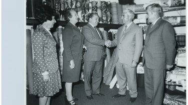 Joan Waldren, Mary Cusack, Jim Pead, John Cusack and  David Cusack in the Cusacks Furniture Store in Kingston after the store was rebuilt following a fire in 1976.