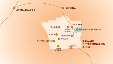 The Tjiwarl determination area just south of Wiluna in WA.