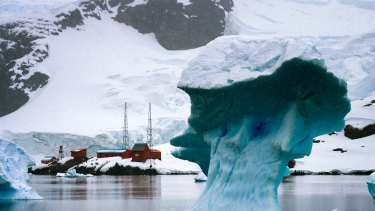 An iceberg drifts past Argentina's Brown Station.