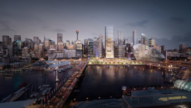 An artist's impression of the Cockle Bay redevelopment, which features a 183 metre office tower that will create extra shadowing over Town Hall Square.