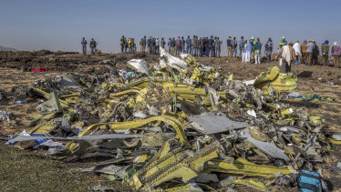 Wreckage at the scene of Sunday's Ethiopian Airlines crash south of Addis Ababa.