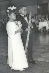 Flower girl and boy at the 1968 Foundation for Aboriginal Affairs debutante ball at Sydney Town Hall.